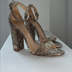 Schutz Shoes Faux Snakeskin Block Heel Sandal